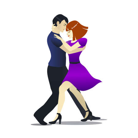 Isolated Bachata Dancers in Cartoon Style