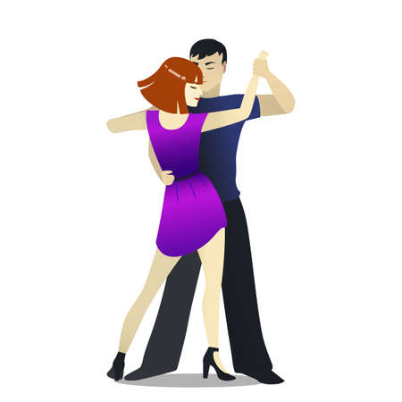 Isolated Rumba Dancers in Cartoon Style