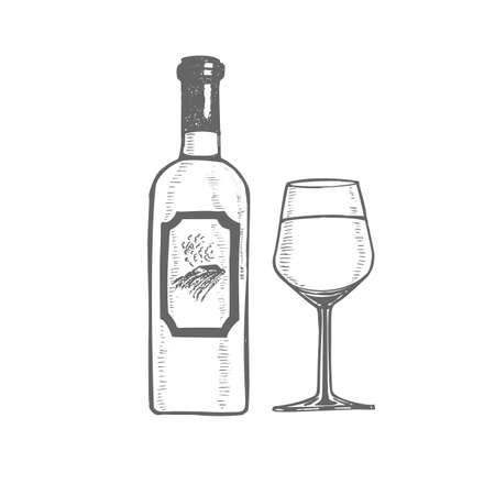 Wine Bottle and Glass. Alcohol in Hand-Drawn Style for Surface Design Banners Fliers Prints Posters Menu Web. Vector Illustration