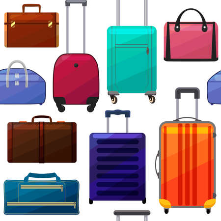 Pattern with Suitcases and Bags. Luggage Background in Cartoon Style for Surface Design Banners Fliers Prints Posters Web. Vector Illustration