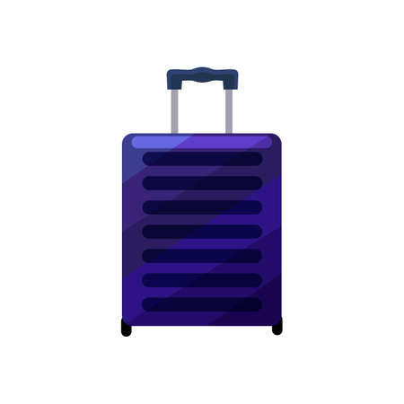 Violet Suitcase. Luggage in Cartoon Style for Surface Design Banners Fliers Prints Posters. Vector Illustration