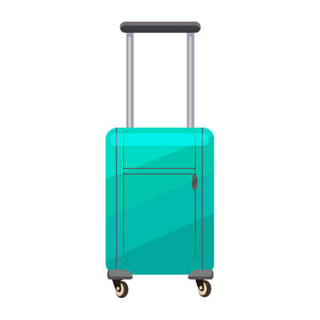 Turquoise Suitcase. Luggage in Cartoon Style for Surface Design Banners Fliers Prints Posters Web. Vector Illustration