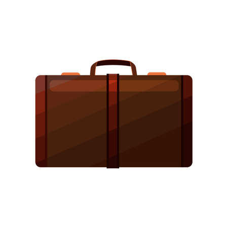 Brown Suitcase. Luggage in Cartoon Style for Surface Design Banners Fliers Prints Posters. Vector Illustration Illustration