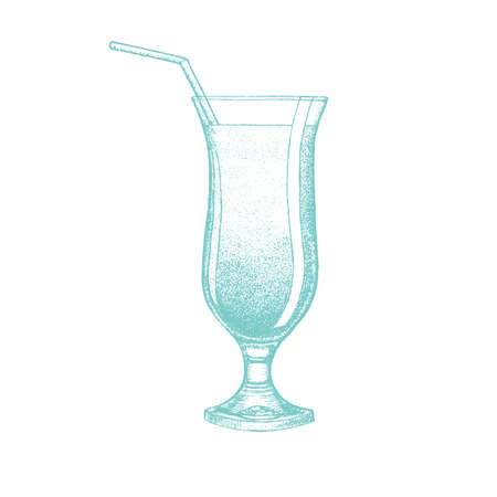 Cocktail. Refreshing Drink in Hand-Drawn Style for Surface Design Banners Fliers Prints Posters Menu Web. Vector Illustration Stok Fotoğraf - 124765875