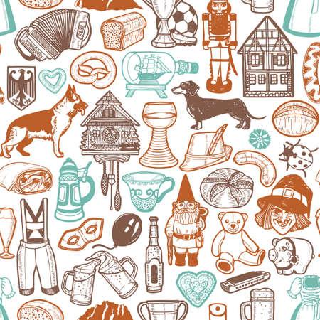 Deutsche Symbole Muster. Nahtloser Hintergrund im handgezeichneten Stil für Oberflächendesign Flyer Banner Drucke Poster Karten. Vektorillustration Vektorgrafik