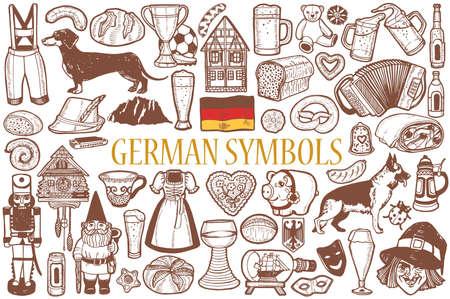 German Symbols Set in Hand Drawn Style Vector Illustration