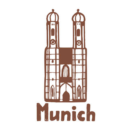 Isolated Munich Frauenkirche in Hand Drawn Style Çizim
