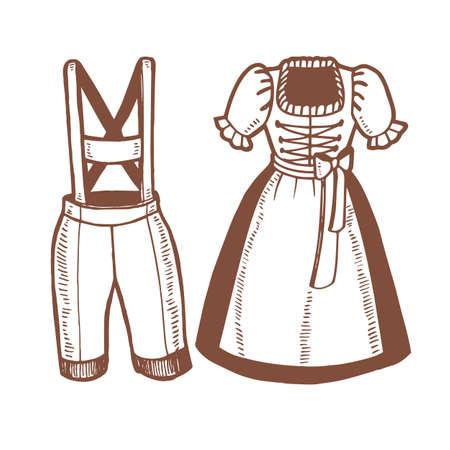 Oktoberfest deutsche Dirndl und Lederhosen. Traditionelle bayerische Kleidung im handgezeichneten Stil für Oberflächendesign Flyer Banner Drucke Poster Karten. Vektorillustration
