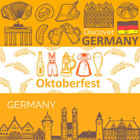 Set of Horizontal German Banners in Hand Drawn Style