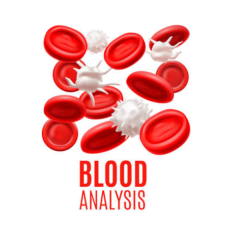 Blood Analysis Concept. Blood Cells Template in Realistic Style for Medical Banners Ads Fliers Posters Web Sites. Vector Illustration Illustration