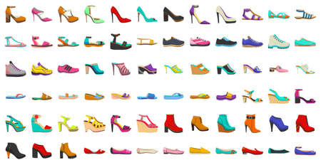 Isolated Women Shoes Set in Cartoon Style