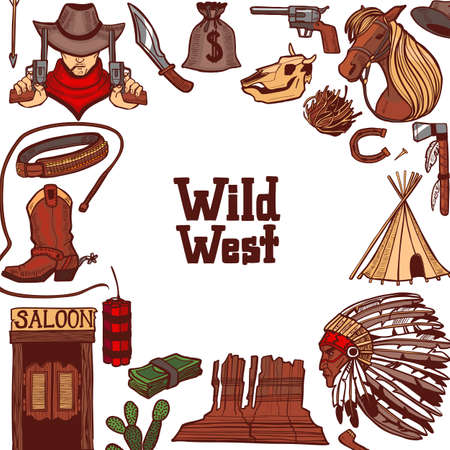 Wild West Template in Hand Drawn Style  イラスト・ベクター素材