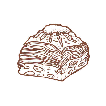 Isolated Baklava in Hand Drawn Style