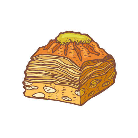 Isolated Colored Baklava in Hand Drawn Style