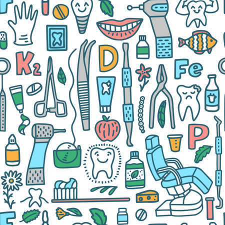Dental Pattern. Dentistry Background with Dental Instruments and Teeth in Doodle Style for Fliers Ads Banners Posters. Vector Illustration
