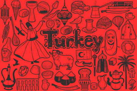 Isolated Turkish Symbols in Hand Drawn Style