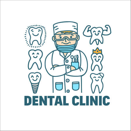 Dentist with Teeth. Dentistry Concept in Doodle Style for Fliers Ads Banners Posters. Vector Illustration Ilustração