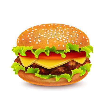 Isolated Hamburger on White Background in Realistic Style