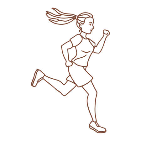 Isolated Running Girl in Hand Drawn Doodle Style Ilustração