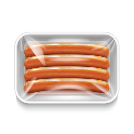 Isolated Sausage Package on White Background in Realistic Style