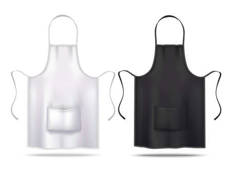 White and Black Apron Mockup Set in Realistic Style