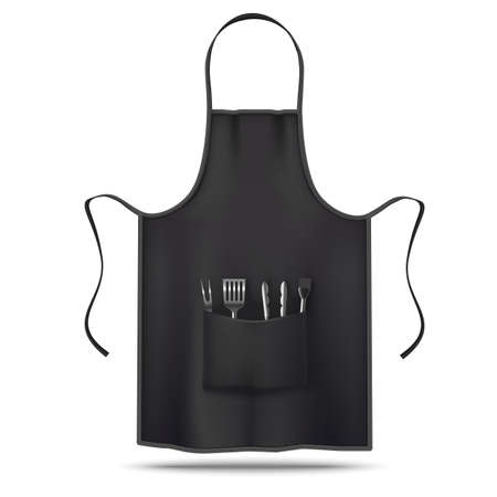 Black Apron Mockup with Grill Utensils in Realistic Style