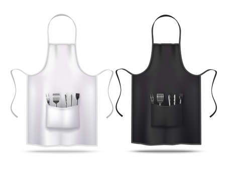 Black and White Apron Mockups with Grill Utensils in Realistic Style Ilustração