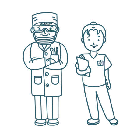 Denistry Staff Dentist and Nurse in Doodle Style