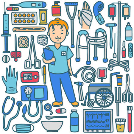 Nurse with Medical Instruments in Hand-Drawn Doodle Style Vettoriali