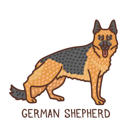 Isolated German Shepherd in Hand Drawn Doodle Style