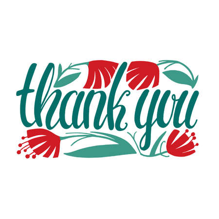 Thank You Card. Thank You Hand-Drawn Lettering for Cards Notes Banners Prints. Vector Illustration