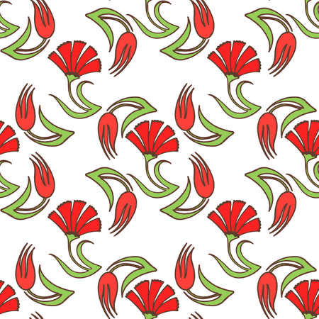 Light Tulip Carnation Pattern in Hand-Drawn Style
