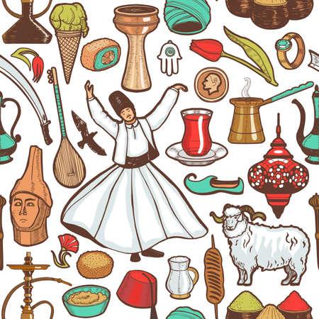 Turkish Symbols Pattern in Hand Drawn Style
