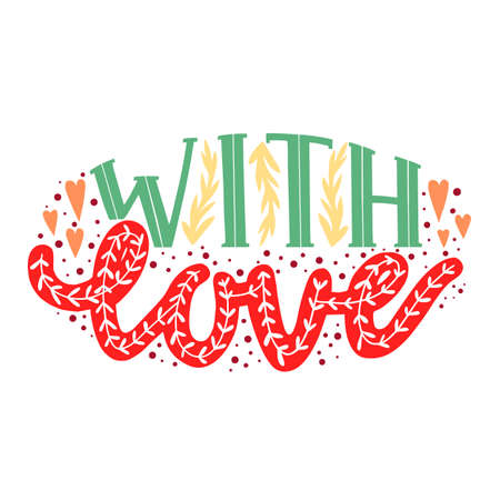 With Love Card. With Love Hand-Drawn Lettering for Cards Posters Banners Prints. Vector Illustration