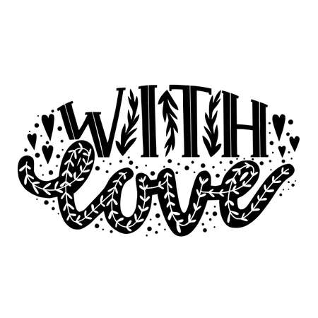With Love Hand-Drawn Lettering for Cards Posters Banners Prints