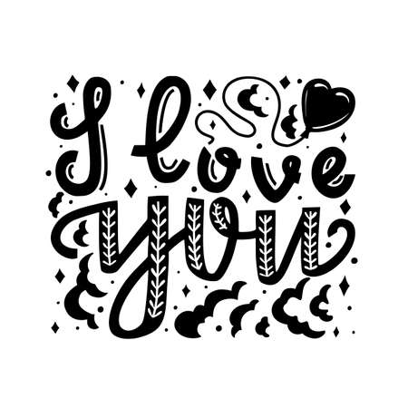 I Love You Valentine Card. With Love Hand-Drawn Lettering for Cards Posters Banners Prints. Vector Illustration Vettoriali