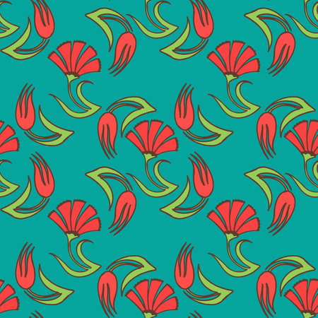 Tulip Carnation Pattern in Hand Drawn Style