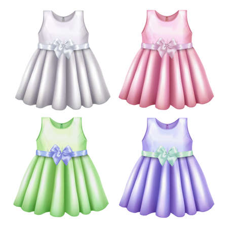 Baby Dress Mockup Set in Realistic Style