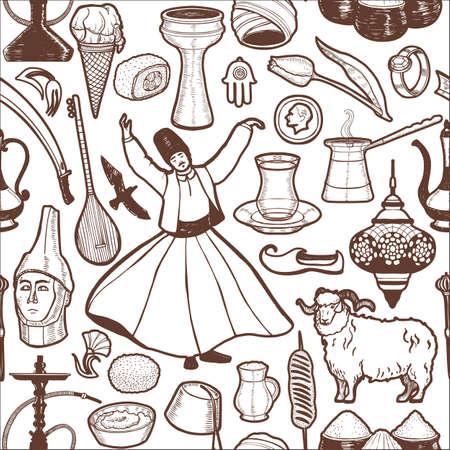 Dark Turkish Symbols Pattern in Hand Drawn Style Vettoriali