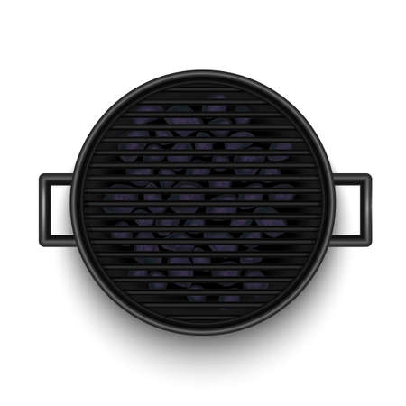 Barbecue Grill Top View in Realistic Style Vettoriali