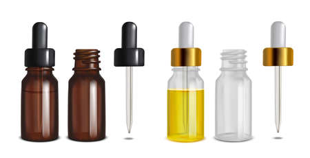 Isolated Glass Bottles with Pipette in Realistic Style