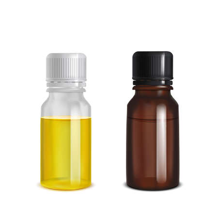 Glass Bottles. Dark and Transparent Blank Mock Up Bottles for Presentation of Cosmetic Skin Care Medical Product Essential Oil Design. Vector Isolated Illustration