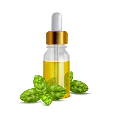 Basil Oil Bottle with Leaves in Realistic Style