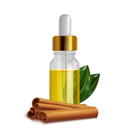 Cinnamon Oil Bottle with Sticks and Leaves in Realistic Style