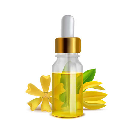 Ylang Ylang Oil Bottle with Leaves in Realistic Style