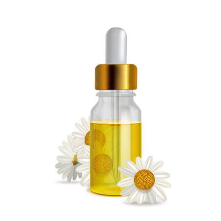 Chamomile Oil Bottle with Flowers in Realistic Style Vettoriali