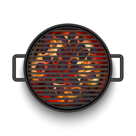 Isolated Barbecue Grill with Fire on White Background in Realistic Style Vettoriali