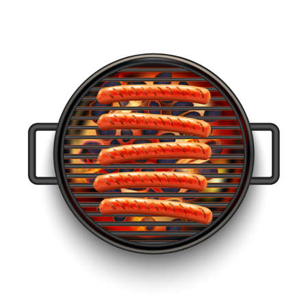 Isolated Barbecue Grill with Sausages and Fire on White Background in Realistic Style Vettoriali