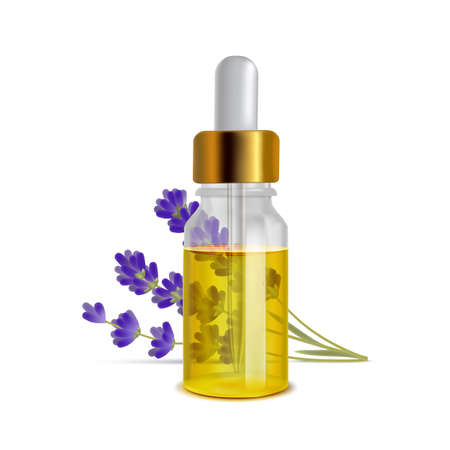 Lavender Oil Bottle with Flowers in Realistic Style Vettoriali