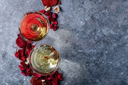 Saint valentine's Champagne over blue texture background. Top view, flat lay. Copy space Stock Photo